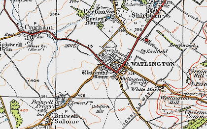 Old map of Watlington in 1919