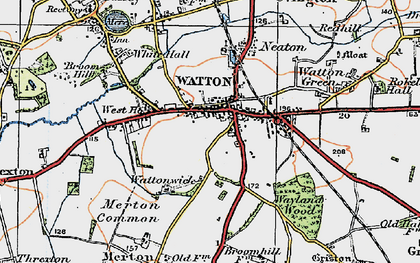 Old map of Watton in 1921