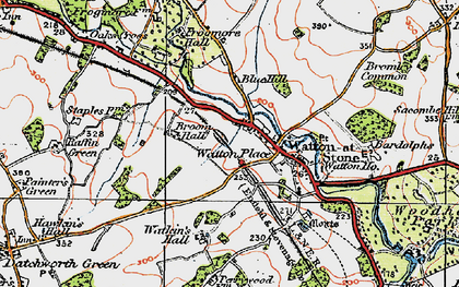 Old map of Watton at Stone in 1919