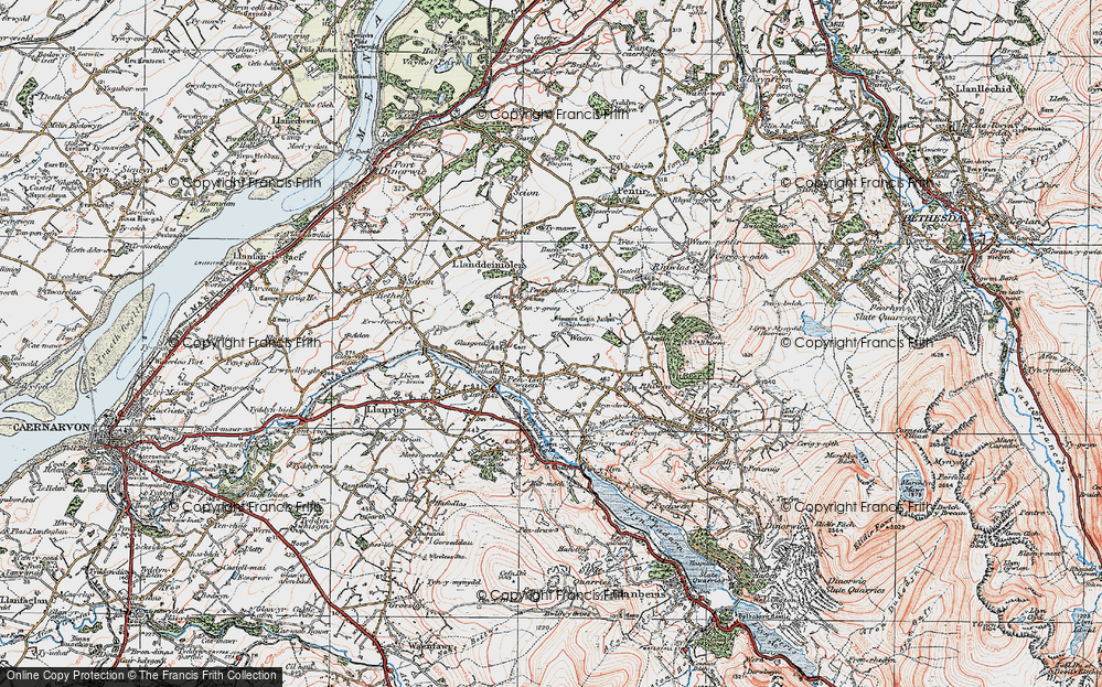 Old Map of Historic Map covering Bach yr Hilfry in 1922