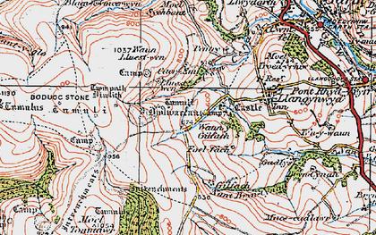Old map of Y Bwlwarcau in 1922