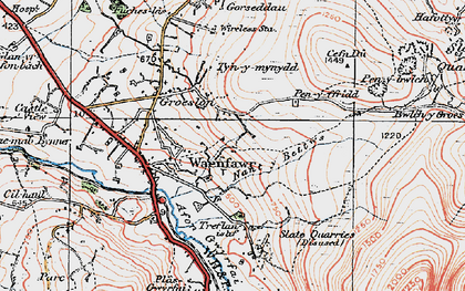 Old map of Waunfawr in 1922