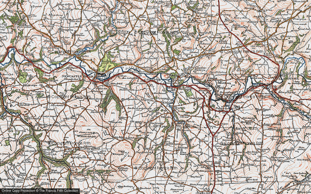 Old Map of Historic Map covering Aberlleinau in 1923