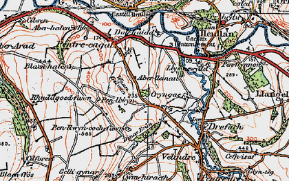 Old map of Aberlleinau in 1923
