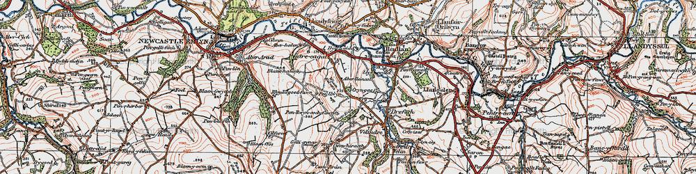 Old map of Aberlleinau in 1923