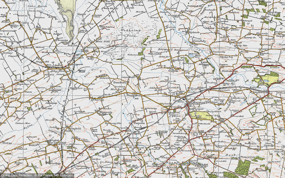 Old Map of Historic Map covering Aikhead in 1925