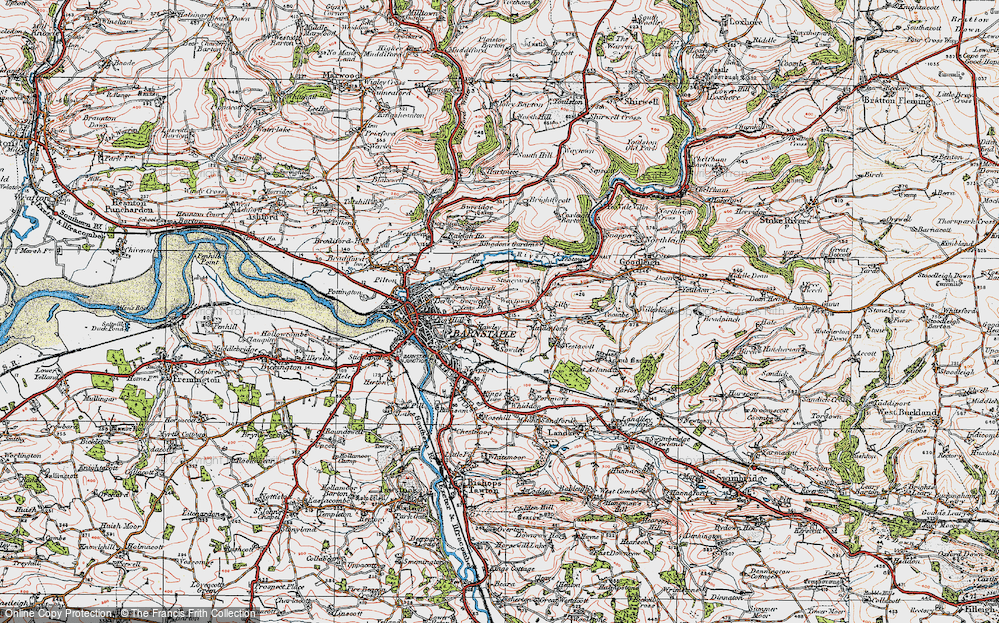 Old Map of Historic Map covering Lilly in 1919