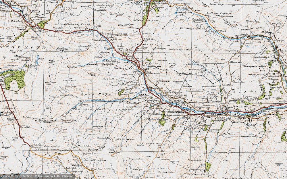 Old Map of Wearhead, 1925 in 1925