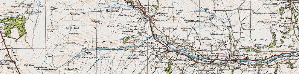 Old map of Wearhead in 1925