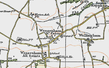 Old map of Weasenham St Peter in 1921