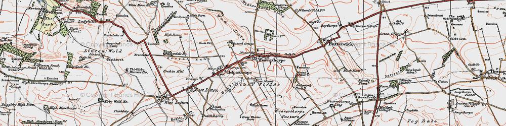 Old map of Weaverthorpe in 1924