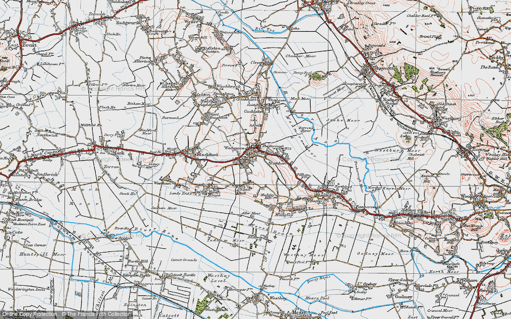 Old Map of Historic Map covering Lascot Hill in 1919