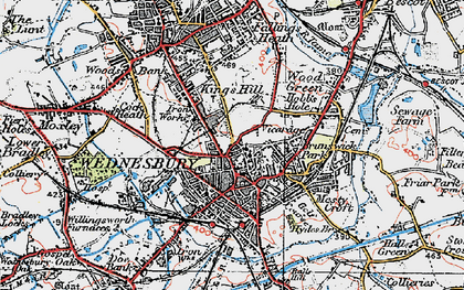 Old map of Wednesbury in 1921