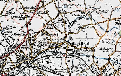 Old map of Wednesfield in 1921