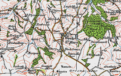Old map of Week St Mary in 1919