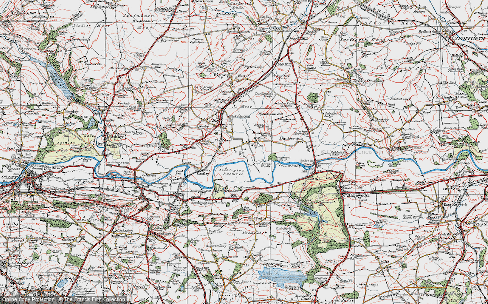 Old Map of Historic Map covering Arthington Pastures in 1925