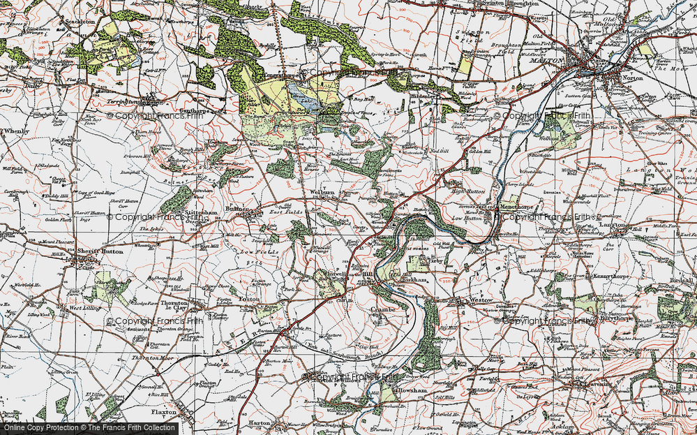 Old Map of Welburn, 1924 in 1924