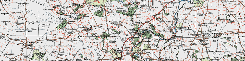 Old map of Welburn in 1924
