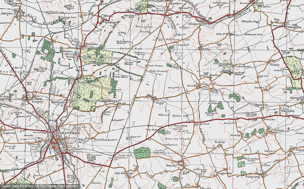 Old Map of Historic Map covering Abney Wood in 1922