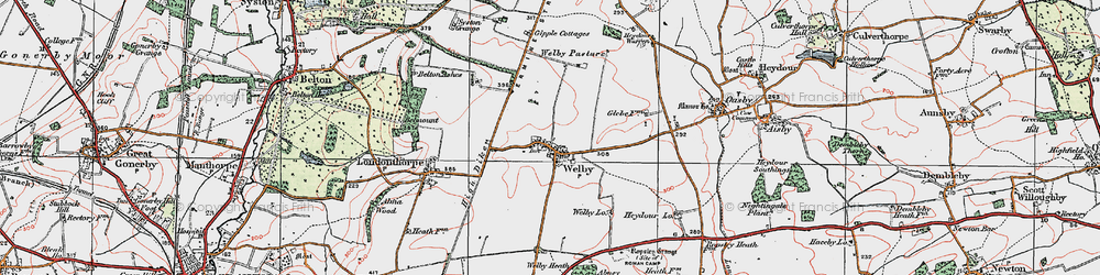 Old map of Abney Wood in 1922