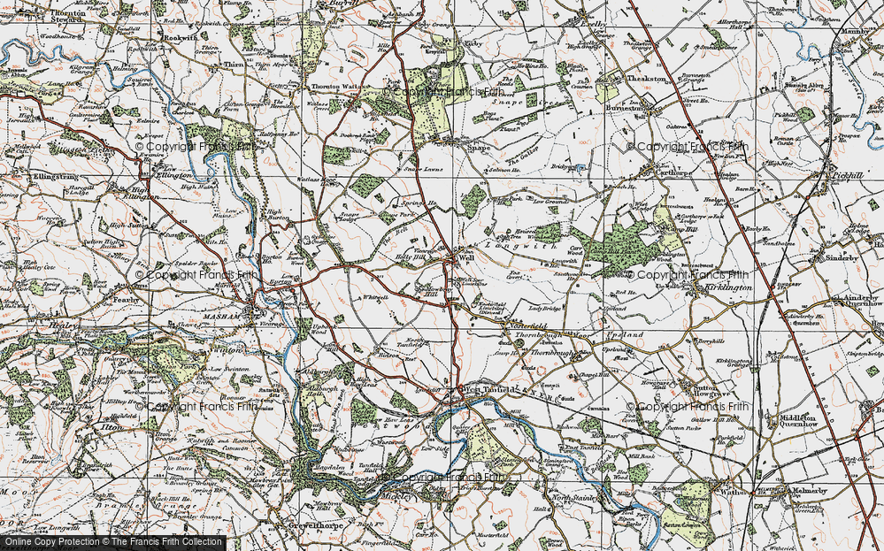 Old Map of Historic Map covering Langwith in 1925