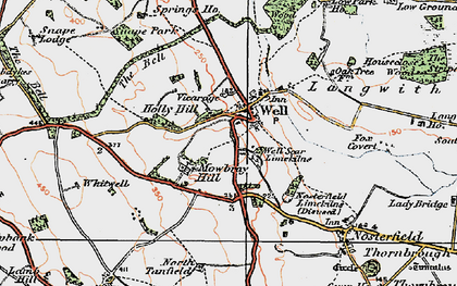 Old map of Whitwell in 1925