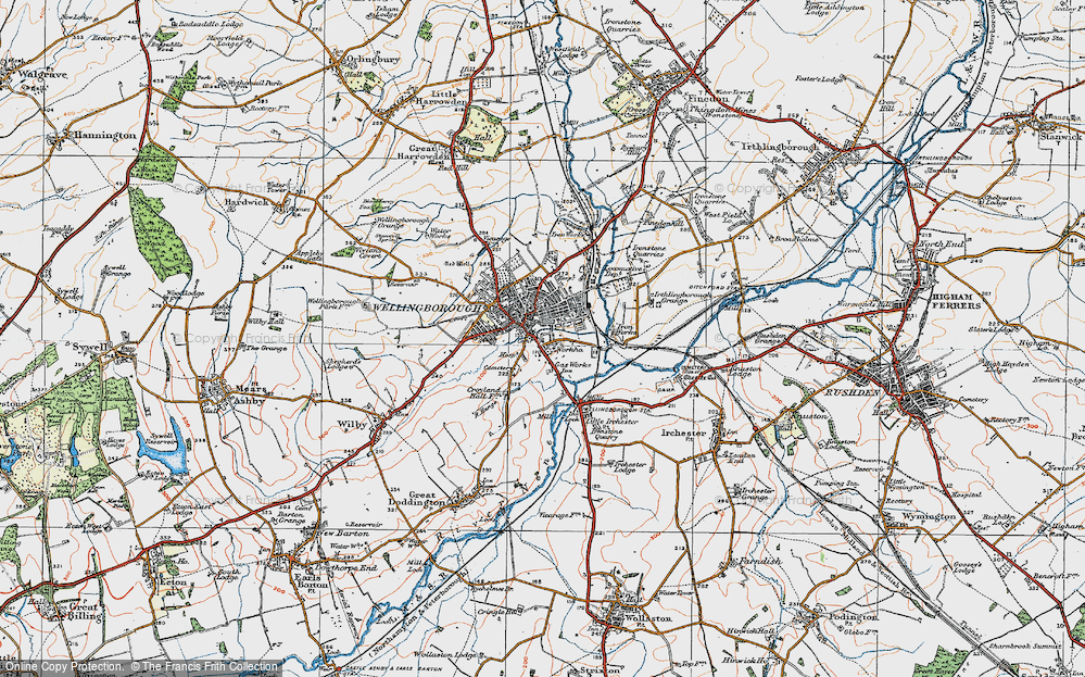 Old Map of Wellingborough, 1919 in 1919