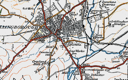 Old map of Wellingborough in 1919