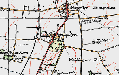 Old map of Wellingore in 1923