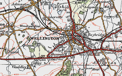 Old map of Wellington in 1921