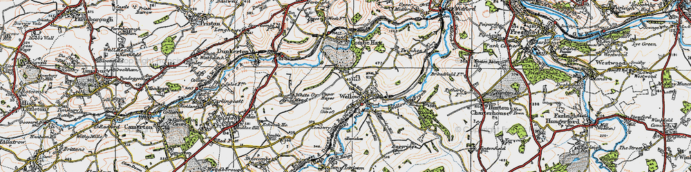 Old map of Wellow in 1919