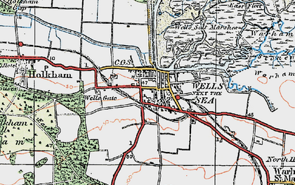 Old map of Wells-Next-The-Sea in 1921