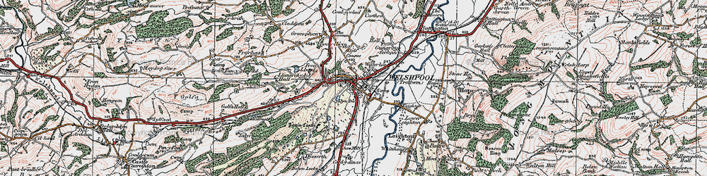 Old map of Welshpool in 1921
