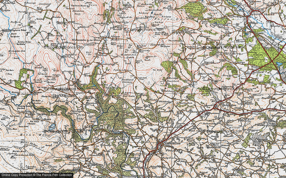 Old Map of Historic Map covering Ausewell Cross in 1919