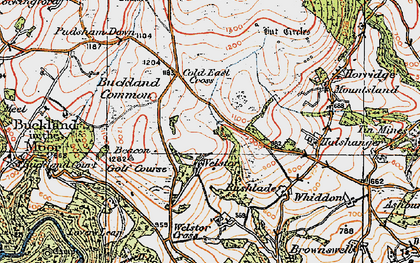 Old map of Ausewell Cross in 1919