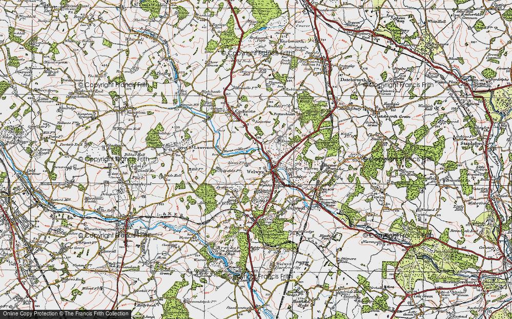 Old Map of Welwyn, 1920 in 1920