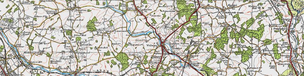 Old map of Welwyn in 1920