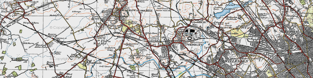 Old map of Wembley in 1920