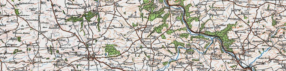 Old map of Abbotsham in 1919