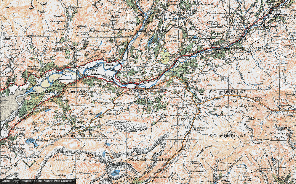 Old Map of Historic Map covering Afon Arran in 1921