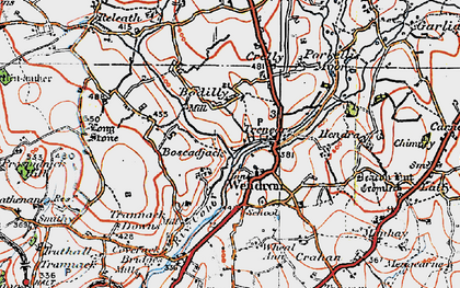 Old map of Wendron in 1919