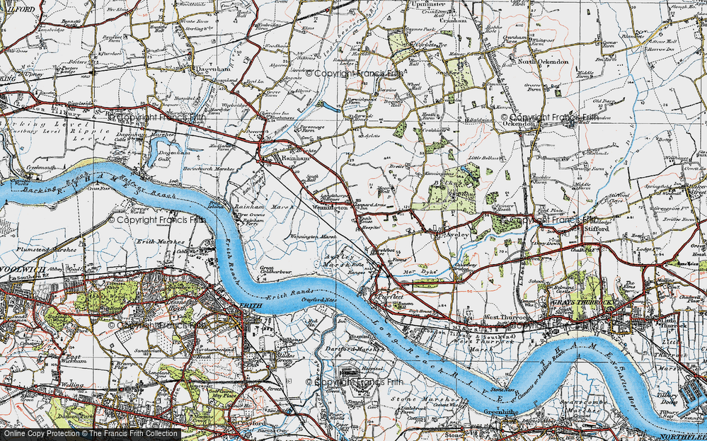 Old Map of Historic Map covering Aveley Marshes in 1920