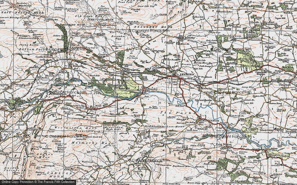 Old Map of Historic Map covering Leyburn Shawl in 1925