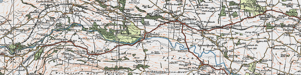 Old map of Wensley in 1925