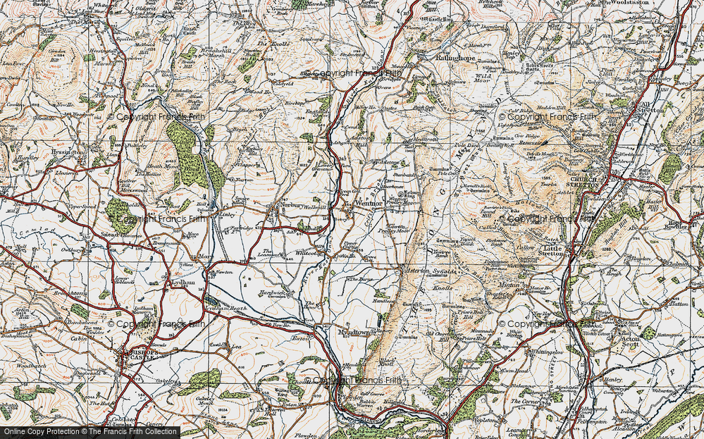 Old Map of Historic Map covering Asterton Prolley Moor in 1920