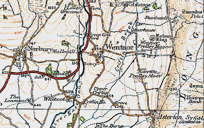 Old map of Asterton Prolley Moor in 1920