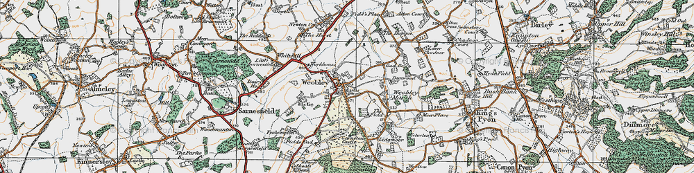 Old map of Weobley in 1920