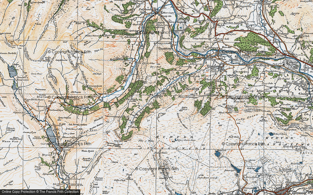 Old Map of Historic Map covering Afon Crawnon in 1919