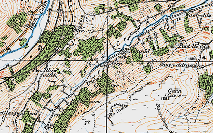 Old map of Afon Crawnon in 1919