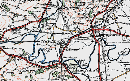 Old map of Aber Tanat in 1921